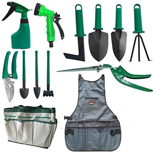 Herramientas de Jardin Juego de Herramienta Pack con 13 Piezas Incluye Pala, Sierra, Regadera etc. en el Set de Herramientas de Jardín-Verde