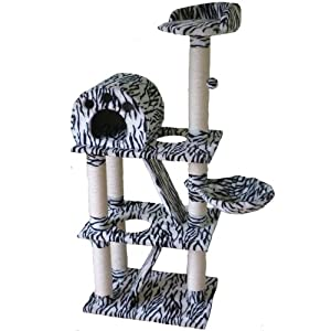 Zebra Cat Scratcher Scratching Post / Activity Centre With 3 Beds 1.4m Delivery Starts From £3.50** by My Internet Pet