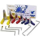SYG 6pcs Padlock Shim ,5pcs Mini Lock Pick Tools with James Card and 5pcs Tension Tools ,Multiple Lock Pick Conbination Set