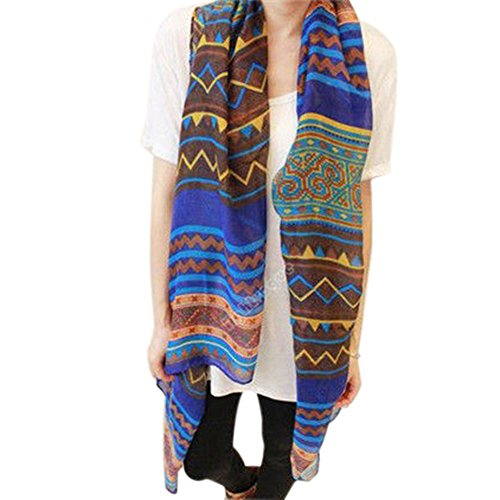 - 518xjjGLhwL - Hot Fashion Women Ladies Bohemian Voile Soft Silk Scarf Large Shawl Scarfs Scarves (Blue)