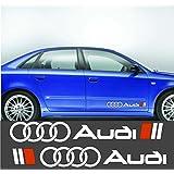 """'""""2x Audi + anillos Izquierda & Lado Derecho Pegatinas aprox. 60cm, 2–Colores, coches, freigestellt sin fondo, para todas las superficies lisas, coches, discos, barniz, calidad profesional"""