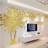 Kenmont DIY 3D Riesig Paar Baum Wandtattoos Wandaufkleber Kristall Acryl Wandtattoo Aufkleber Vögel Vine Zweig Wandkunst Wohnzimmer Schlafzimmer Kinderzimmer Sticker (X-Large, Gold, Recht)