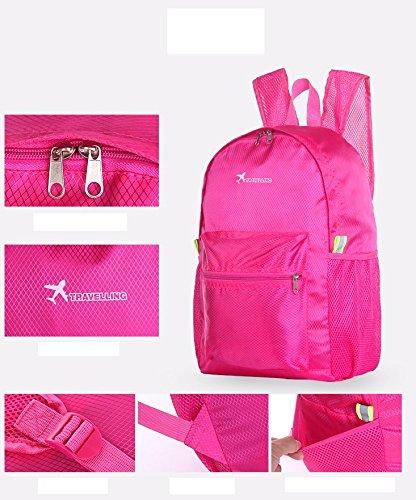 Kotiger spalla escursioni e campeggio zaino ripiegabile unisex Outdoor Sports zaino pacchetto, Rosy Green