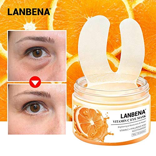 Hanves Hot 50pcs VC Eye Mask Reduces Dark Circles Soothing Firming Hardening Elevation Repair Serums wyt77 - As Show
