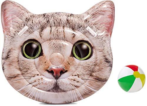 Aufblasbare Luftmatratze XL Matratze Badematratze Schwimmmatratze Katze Cat Badeinsel Grün Luftmatratzen Motiv für Wasserspielzeug, Strand, Kinder, Sonnen, Pool , Erwachsene Meer Deko