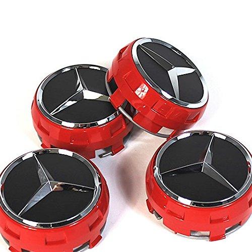 4capuchons de centre de roue en édition limitée exclusive pour Mercedes classe A, B, C, D, S, SLK, A45,AMG - Rouges - 75mm