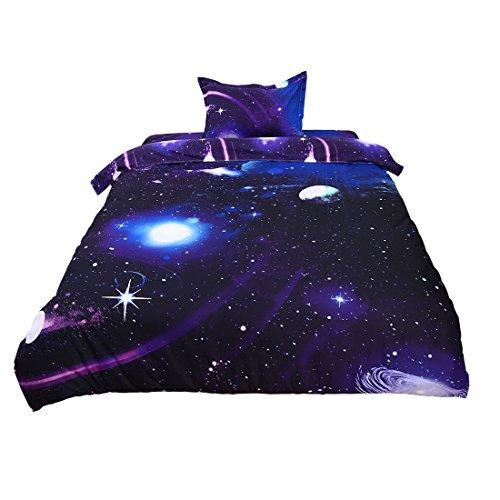 sourcing map 3stk. Dunkellila Galaxy Himmel Kosmos Nachtmuster Einzeln Größe Bettwäsche Duvet Set (Fantasy-tröster)
