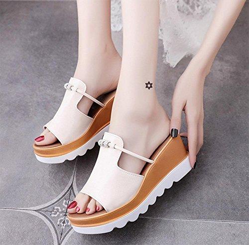 Frau Sommer dicke Kruste Hang mit hochhackigen Pantoffeln Wort Strand Sandalen Schuhe Casual meters white