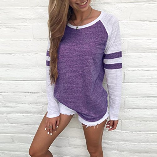 Sweatshirt Femme, LMMVP Femme O-cou Pull à Manches Longues T-shirt Épissure Chemise (XL, Bleu) violet