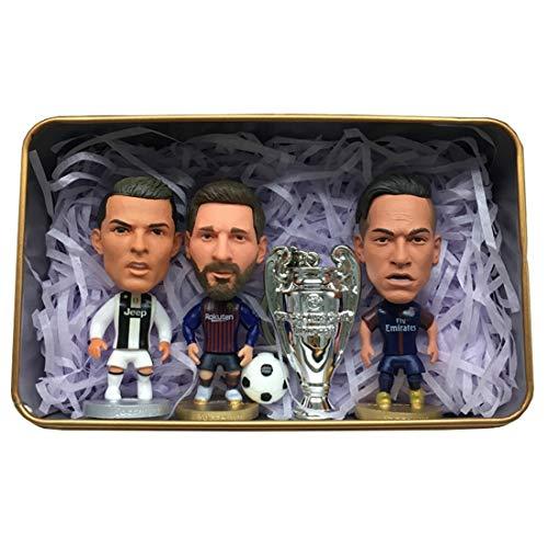 Neymar und Messi und Ronaldo Vier Actionfiguren Set Mini Soccer Star Statue - Harz Skulptur Home Cabinet Decor Figuren Büro Desktop Auto Dekoration für Jungen Erwachsene