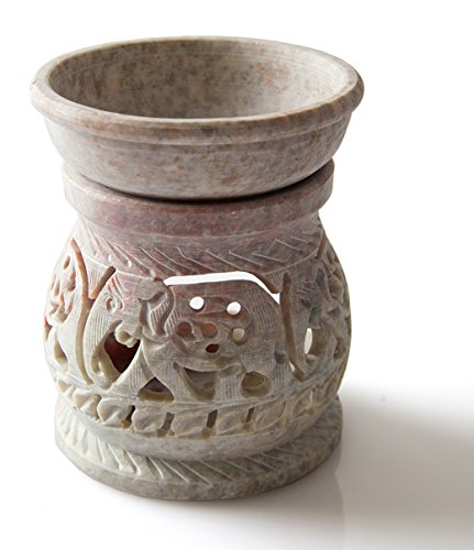 StarZebra-Essential-Oil-Diffuser-Oil-Burner-Oil-Warmer-with-Tea-Light-Holder-for-Aromatherapy-Artisan-Handcarved-Soapstone-3-with-Intricate-Elephant-design