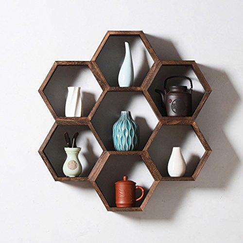 JXXDQ Hexagon Montiert Regal, Massivholz Dekorative Wandbehang, Braun Schlafzimmer Wohnzimmer Vitrine, 70 * 73 * 12 cm Braunes Bücherregal