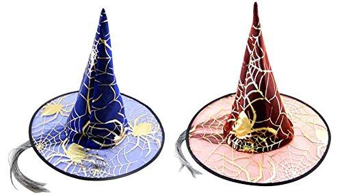 Hüte Hexe Hüte mit gefälschten Haaren zufällige Farbe (Make-up Und Haar-ideen Für Halloween)