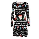 BHYDRY Damen Elegant Weihnachten Karikatur Gedruckt Spitzenkleid Damen Langarm Minikleid(S,Schwarz c)