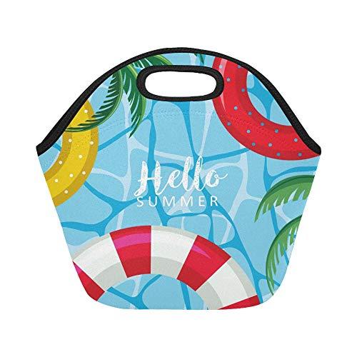 nch-Tasche Hallo Sommer-Plakat schwimmt auf Wasser Große wiederverwendbare thermische dicke Lunch-Tragetaschen Für Brotdosen Für draußen, Arbeit, Büro, Schule ()