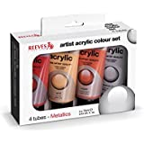 REEVES 8390904 Acrylfarbe Set Metallic, 4 x 75 ml Tuben
