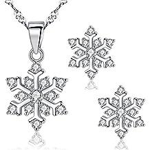 Hanie copo de nieve collar y pendientes mujer joyas Set 925plata de ley blanco circonita studs colgante y elegante regalo para novia esposa Match con invierno