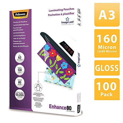 Fellowes 53062, Pack 100 fundas plastificar, brillo