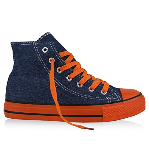 best-boots Damen High-Top Sneaker Schnürer Slipper Halbschuhe Sportlich Denim Orange Nuovo