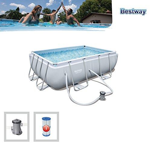 bestway power steel rectangular pool set 282x 196x 84cm telaio in acciaio pool set con pompa filtro e accessori