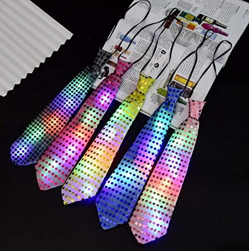 Bunte Krawatte (Gwill 5Pcs Bunte LED Unisex Sparkly Elasticated Glitter Pailletten Krawatte blinkt Flash Party Show Favor Stage Performance Dekoration Geburtstag Hochzeit)