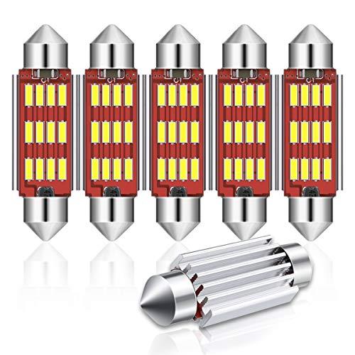 Audew 6 x C5W 42mm 12 4014smd Compartimento Lettura Luci Targa Luce Doppia Puntata Soffitto Luce Canbus No Error(Bianco)