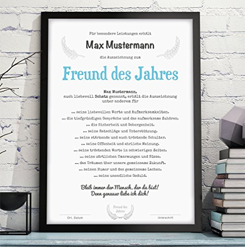 MANN / FREUND / EHEMANN DES JAHRES Bild Urkunde Auszeichnung Danksagung - optional mit Rahmen - Geschenkidee Geburtstag Jahrestag Hochzeitstag Valentinstag