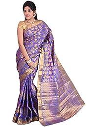 Mimosa Women Kanchipuram Multi Art Silk Saree with Blouse (3012-107-KP-Voilete, Purple)
