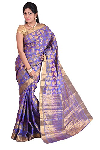 Mimosa Women Kanchipuram Multi Art Silk Saree with Blouse (3012-107-KP-Voilete, Purple)