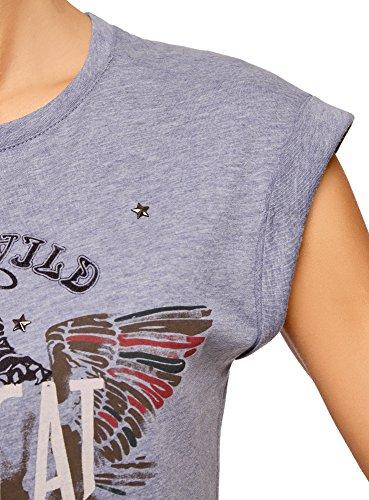 oodji Ultra Donna T-Shirt con Stampa e Risvolti sulle Maniche Blu (70A0P)