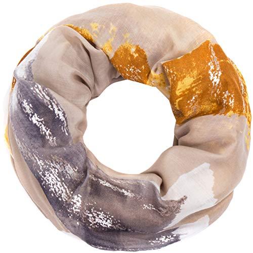 Faera weicher und leichter Damen Sommer-Schal mit Gold- oder Silber-Druck Loopschal Rundschal in verschiedenen Farben, SCHAL Farbe:Senf -
