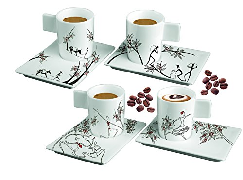 Deagourmet 155 - Juego de tazas de café con platos de porcelana, decorados a mano (4 unidades), color blanco