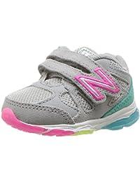 NEW BALANCE - Fuchsia Schuh für die Wiege mit Schnürsenkel, aus Wildleder und Synthetik, seitlich ein weißes Logo und Stoffsohle, Mädchen-18,5