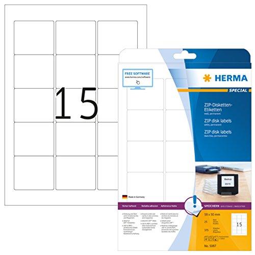 Herma 5087 Disketten Etiketten für Zip Disk 3,5 Zoll (59 x 50 mm) weiß, 375 Aufkleber, 25 Blatt DIN A4 Papier matt, bedruckbar, selbstklebend