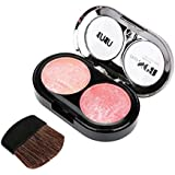 UBUB DEEP SEA 2 colores Colorete en polvo brillo cosmético con cepillo facial espejo para maquillaje