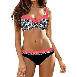 2018 Hot Sale Seaside Beach Colorful Choose Womens Sujetador Push-up Acolchado Bikini Set Traje de Baño Traje de Baño Traje de Baño Ropa Interior 2 Piezas Ropa Interior Plus bBriefs (M, Rojo Sandía)