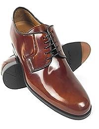 ZERIMAR Zapatos con alzas interiores para caballeros Aumento + 7 cm Zapato fabricado en piel vacuna de alta calidad Color cuero