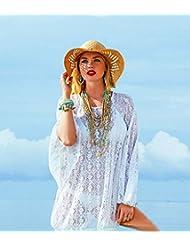 qxj Añadir Fertilizantes para aumentar cordones trapezoidal en la playa vestido con mangas de murciélago blusa