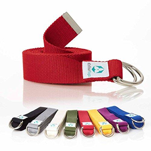 Yogagurt »Madira« / Yoga-Belt Gurt 100% Baumwolle mit stabilem Metall-Ring-Verschluss / 250 x 3,8cm / rot