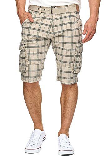 INDICODE Herren Monroe Check Karierte Cargo Shorts Bermuda kurze Hose mit Gürtel Fog L