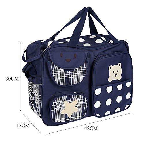8f5079f1122d7 ... Wickeltasche Multifunktionale Mama Handtasche Bärenmuster Baby Windel  Tasche Violett Marine