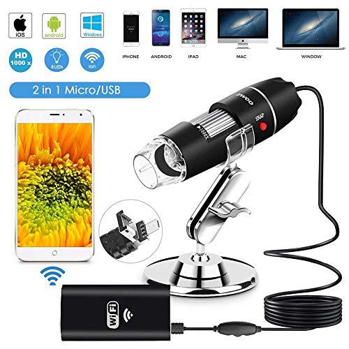 Z-CZNKJ Microscopio Digitale USB Wi-Fi, Endoscopio da ingrandimento da 40 a 1000x con ingrandimento 8 LED Mini con aspirazione e Supporto in Metallo, Compatibile con iOS Mac Windows Android