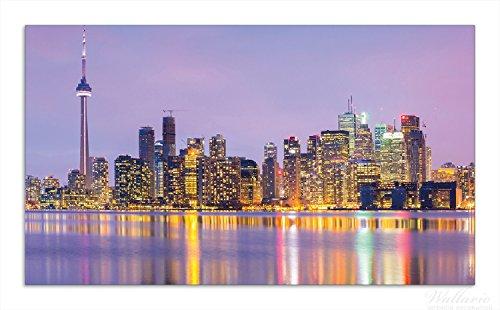Tower Kanada, Cn (Wallario Herdabdeckplatte / Spritzschutz aus Glas, 1-teilig, 90x52cm, für Ceran- und Induktionsherde, Toronto Skyline - Kanada am Abend)