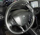 Peugeot 208 rivestimento volante in vera pelle nera traforata