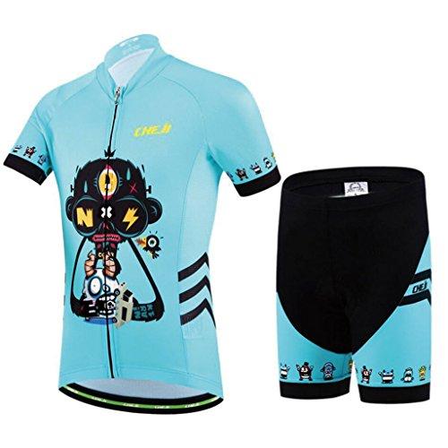 GWELL Kinder Jungen Fahrrad Anzug Radtrikot Set Fahrrad Trikot Kurzarm + Radhose mit Sitzpolster hellblau M
