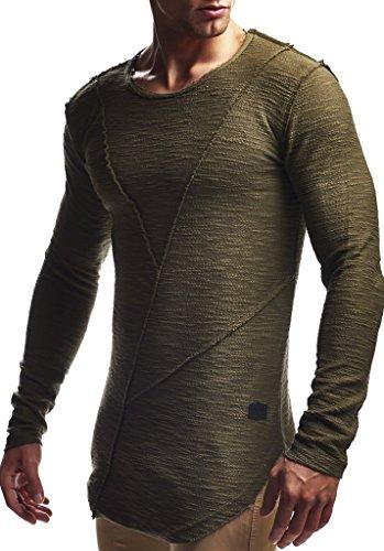 LEIF NELSON Herren Pullover Hoodie Kapuzenpullover Sweatjacke Longsleeve Sweatshirt Jacke Basic Rundhals Langarm Oversize Shirt Hoody Sweater LN6323; Größe M; Khaki