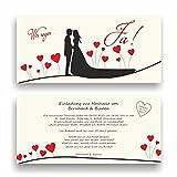 Einladung zur Hochzeit I Wir sagen Ja... mit Herzchen I HO-005 Hochzeitseinladung (20 Stück)