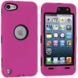 Hot Pink Deluxe Hybrid Premium Rugged Hard Soft Case Skin Cover for Apple iPod Touch 5th Generation 5G 5