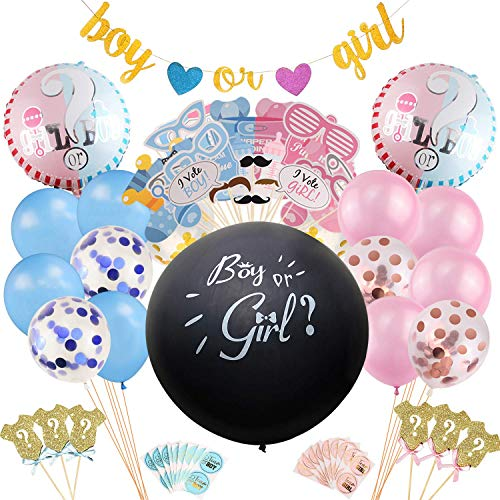 Gender Reveal Party-Dekoration, 115 Stück mit Geschlechtsbringung, für Jungen oder Mädchen, Glitzer-Banner, Mylar-Luftballons, Konfetti-Luftballons, Foto-Requisiten, Cupcake-Topper und Aufkleber
