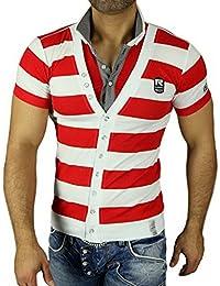 Rusty Neal Polohemd 5019 T-Shirt mit V-Neck gestreift Polo T-Shirt Hemd NEU, Größe:XL, Farbe:Rot